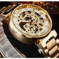 Gold WINNER Men Skeleton Vento Mão Relógio Mecânico Relógio de Aço Stainess Aço Relógios Montre Homme relógio de Pulso Steampunk Transparente
