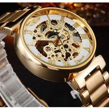 GANADOR Hombres de Oro Reloj Mecánico Esquelético de la Mano del Viento de Acero Stainess Acero Relojes Transparente Steampunk Reloj Montre Homme
