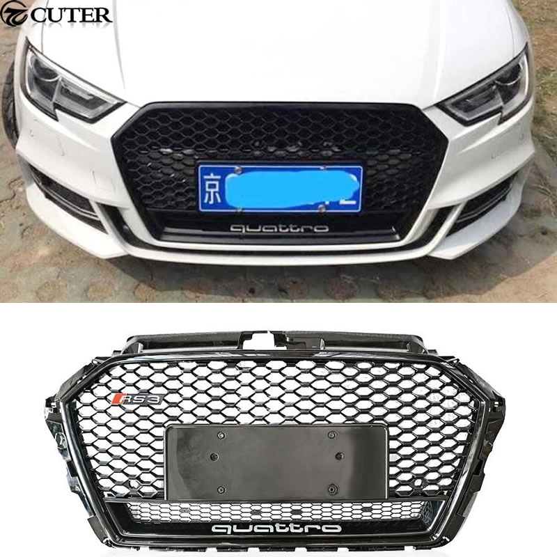 A3 RS3 Racing Grills ABS Honeycomb Grill for Audi A3 RS3 quattro grill front bumper 2017