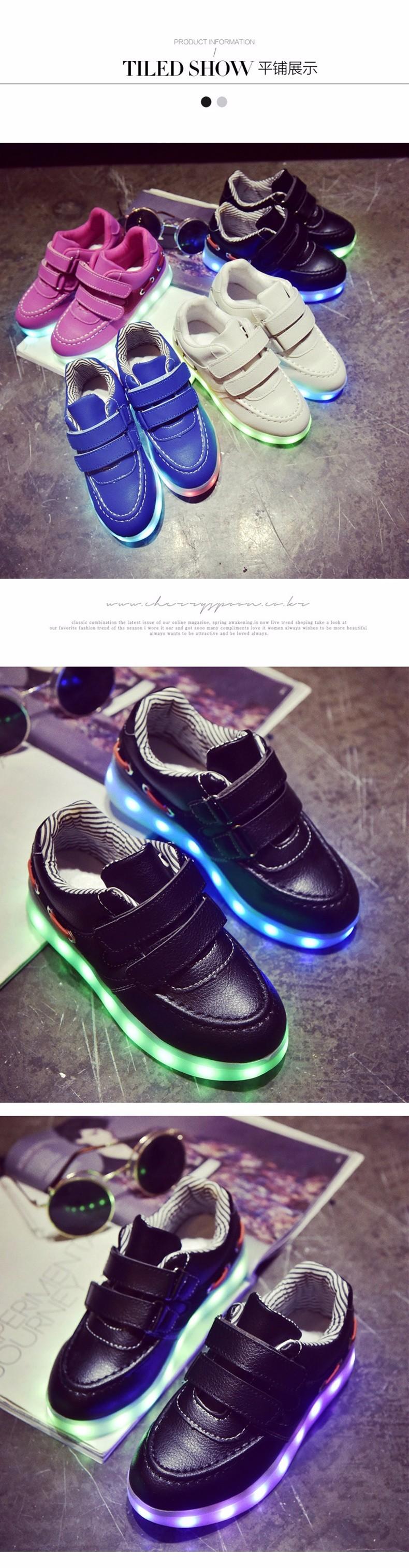 Kid USB Charging LED Light Shoes Soft Net Casual Boy Girl Luminous Sneakers Antiskid Bottom Children Shoes Tenis Led Infantil (6)