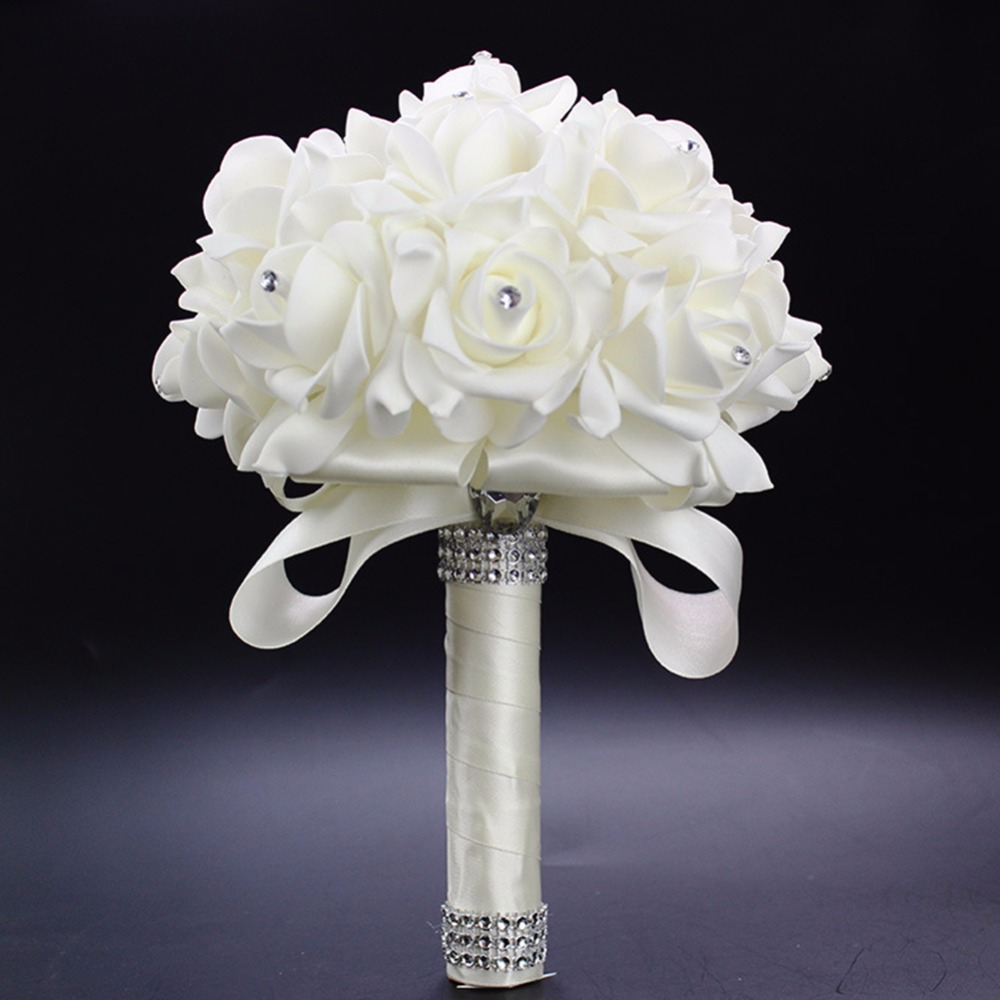 Wedding flower bouquet white rose crystal bouquet bride bridesmaid wedding flower bouquet white rose crystal bouquet bride bridesmaid flower girl wand best wedding floral in artificial dried flowers from home garden on izmirmasajfo