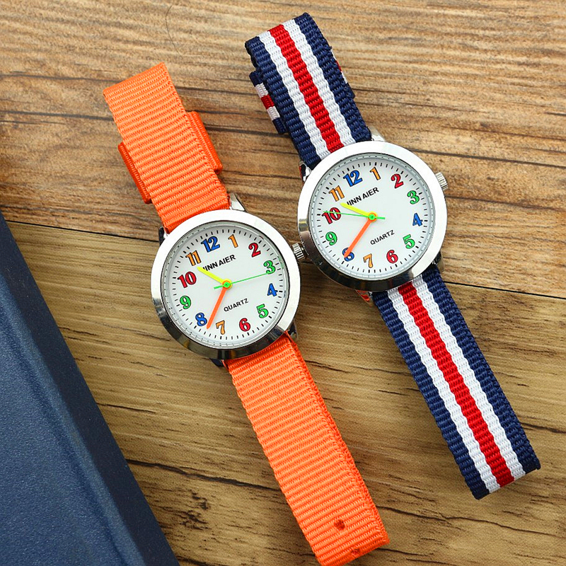 New Fashion Boys Girls Outdoor Sports Nylon Watch Middle Little Child Colorful No. Dial Cartoon Learn Time Clock Free Shipping