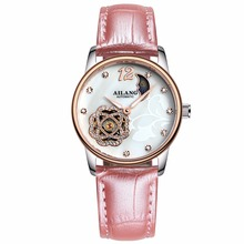 2017 Women Brand Mechanical watches, Leather ailang 50m Waterproof Automatic Hollow Gold Watch Luxury Brand Ladies Wrist Watch