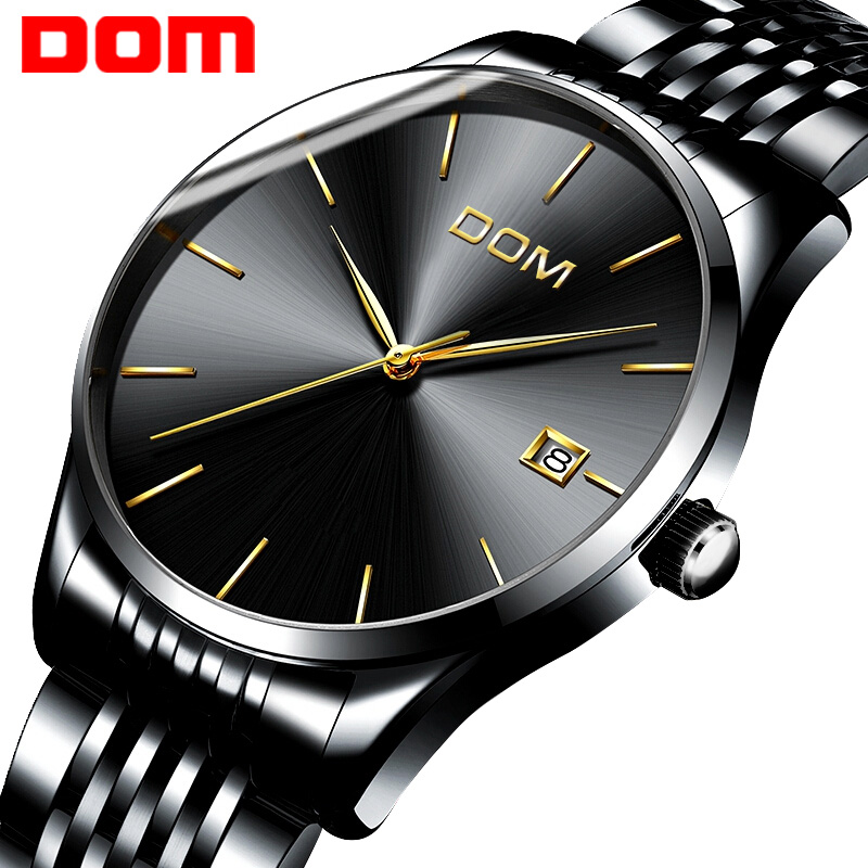 New DOM watch men quartz Wristwatches ultra-thin waterproof fashion steel bracelet table men top brand black calendar male watch 2016 new hot sale brand magic star black white analog quartz bracelet watch wristwatches for women girls men lovers op001