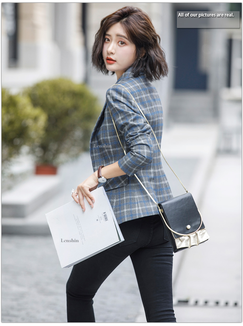 Lenshin Soft and Comfortable High-quality Plaid Jacket with Pocket Office Lady Casual Style Blazer Women Wear Single Button Coat 4