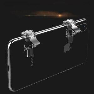 Image 2 - S4 Pubg Mobile game Controller L1R1 Atirador de Metal Transparente Gatilho Botão de Fogo Objetivo Chave Joystick Para iPhone IOS Android