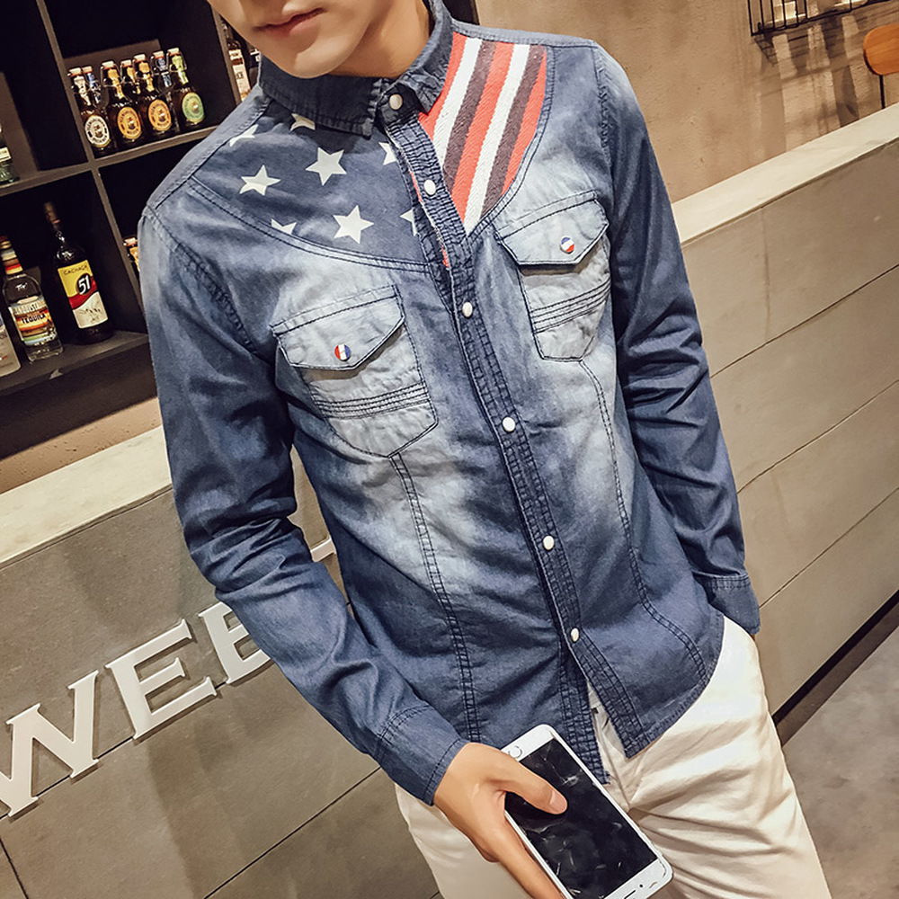 Shirts Mens Clothing 2018 spring autumn new long-sleeved blue denim shirt jacket casual male Young Slim Personality print shirt