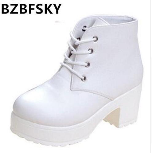 c061d540 New Fashion Black & White Kobiety Platformy Obcasy Botki Gruby Obcas  Platformy Buty Bojowe Buty kobiet buty darmowa wysyłka