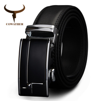 COWATHER Big Size Men Belts Cow Genuine Leather Belts For Men Automaticbuckle Black Brown Color Size