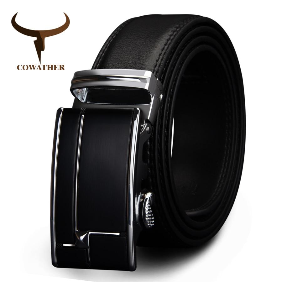 COWATHER big size men belts  cow genuine leather belts for men automaticbuckle black brown color size 34-44 cz038