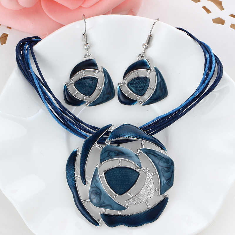 retro blue enamel round hollow pendant necklace bridal wedding jewelry sets for women lucite drop earrings sets