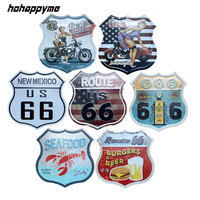 Route 66 Metal Tin Signs Irregular Garage Sign Vintage Pub Bar Art Wall Decor Plaques Home