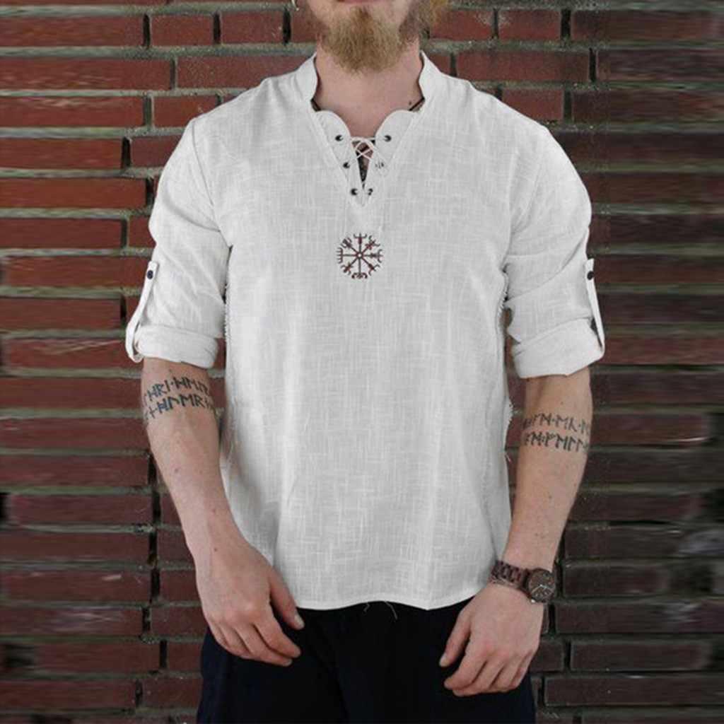 T-shirt de manga comprida para homem engraçado novo estilo de moda personalidade de algodão-linho puro topo t camisa engraçada masculina