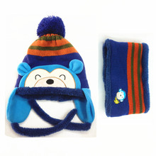 2016 Korean Version of The Baby Cap Cap Winter New Children's Hat Wool Monkey New Cashmere Style Baby Hat Plus Sets of Neck