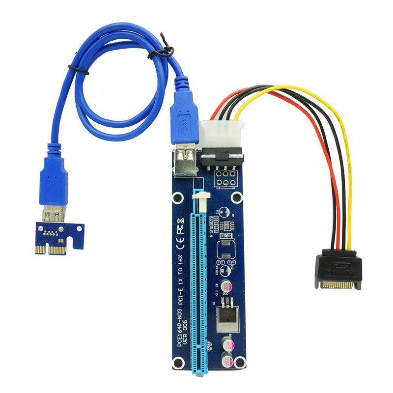 все цены на 60CM PCIe PCI-E PCI Express Riser Card 1x to 16x USB 3.0 Data Cable SATA to 4Pin IDE Molex Power Supply For BTC Miner Machine онлайн