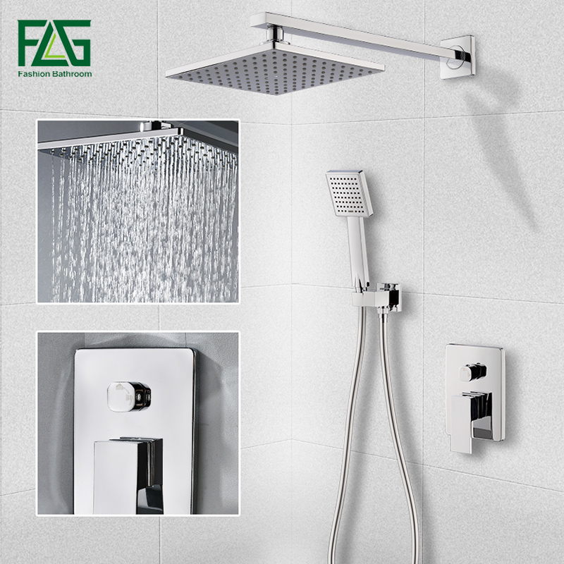 Flg New Luxury Square Shower Set Concealed Bathroom Shower Faucet Sets Wall Mounted 8 Inch Rainfall Shower Head Kit Hs188 55c 01 Shower Faucets Aliexpress