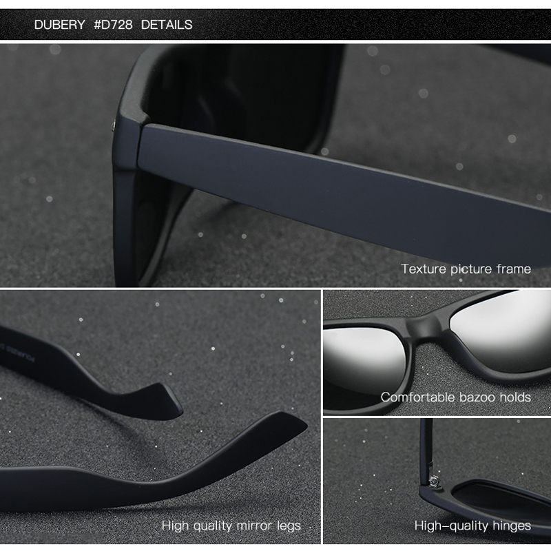c76a161120 DUBERY Brand 2018 Best Seller Polarized Sunglasses Men Women Unisex Fashion  Square Mirror Lens Drive Shades Sun Glasses D728-in Sunglasses from Apparel  ...