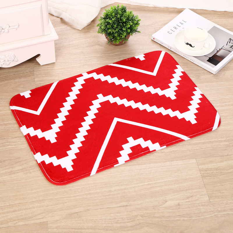 Zeegle Geometric Home Doormats Bedroom Carpet Floor Mat Non-slip Bathroom Bath Mats Abso ...