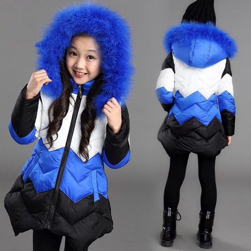 2018 Winter Faux Fur Hooded Jacket for Girls Children Warm Parka Thick Cotton-Padded Outerwear Coat 5 6 7 8 9 10 11 12 13 Years