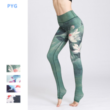 PYG Chinese Ink Printed Yoga Pants Women  Sport Printing Leggings Floral Printed Fitness  Tights Lift Hip Compression Sportswear