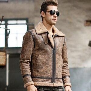 Image 3 - Mens real leather jacket motorcycle pigskin Genuine Leather jackets winter warm coat Aviator jacket flight bomber jacket
