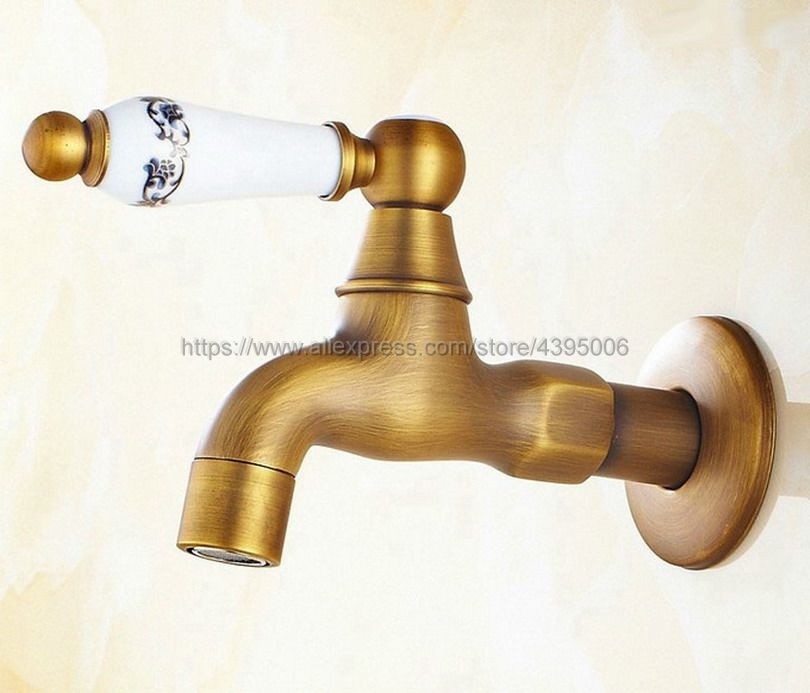 Antique Brass Single Ceramic Handle Cold Water Faucet Wall mounted Mop Pool Sink Tap for Kitchen Bathroom Garden Bav133 in Bibcocks from Home Improvement