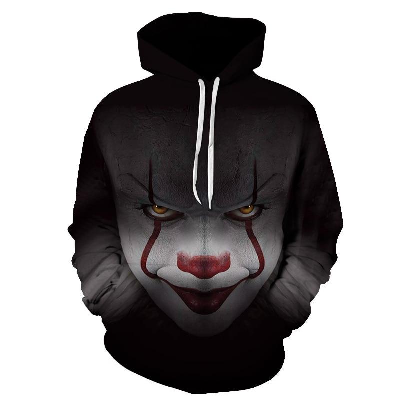 BZPOVBNewHorrorMovieClownHoodiedSkullSweatshirtPlusSizeS XLSportswearTracksuitMenWomenUnisexPullover