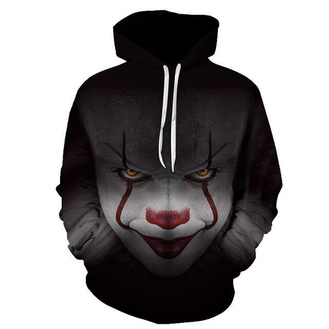 BZPOVB New Horror Movie Clown Hoodie 3d Skull Sweatshirt Plus Size S-6XL Sportswear Tracksuit Men Women Unisex Pullover