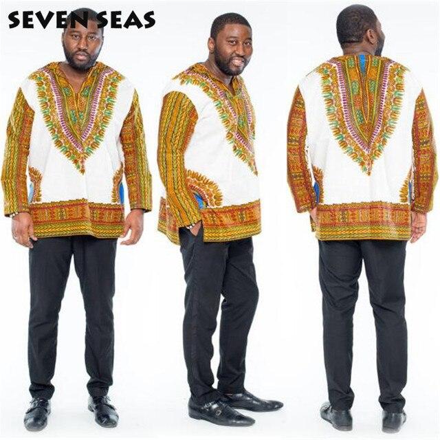 Мужчины Африканские Одежды Dashiki Рубашка С Длинным Рукавом Халат Африканской Печати Одежды Базен Riche Африканские мужская Топ