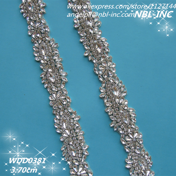 10 YARDS Wholesale bridal beaded silver crystal rhinestone applique trim iron on for wedding evening