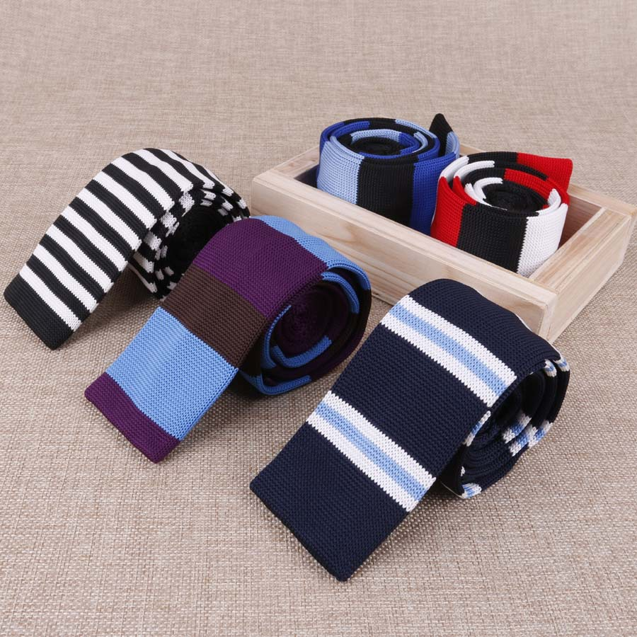 Fashion Men's Colourful Knit Tie Stripe Vintage Knitted Ties Dot Sample Necktie Narrow Slim Skinny Woven Cravate Narrow Neckties