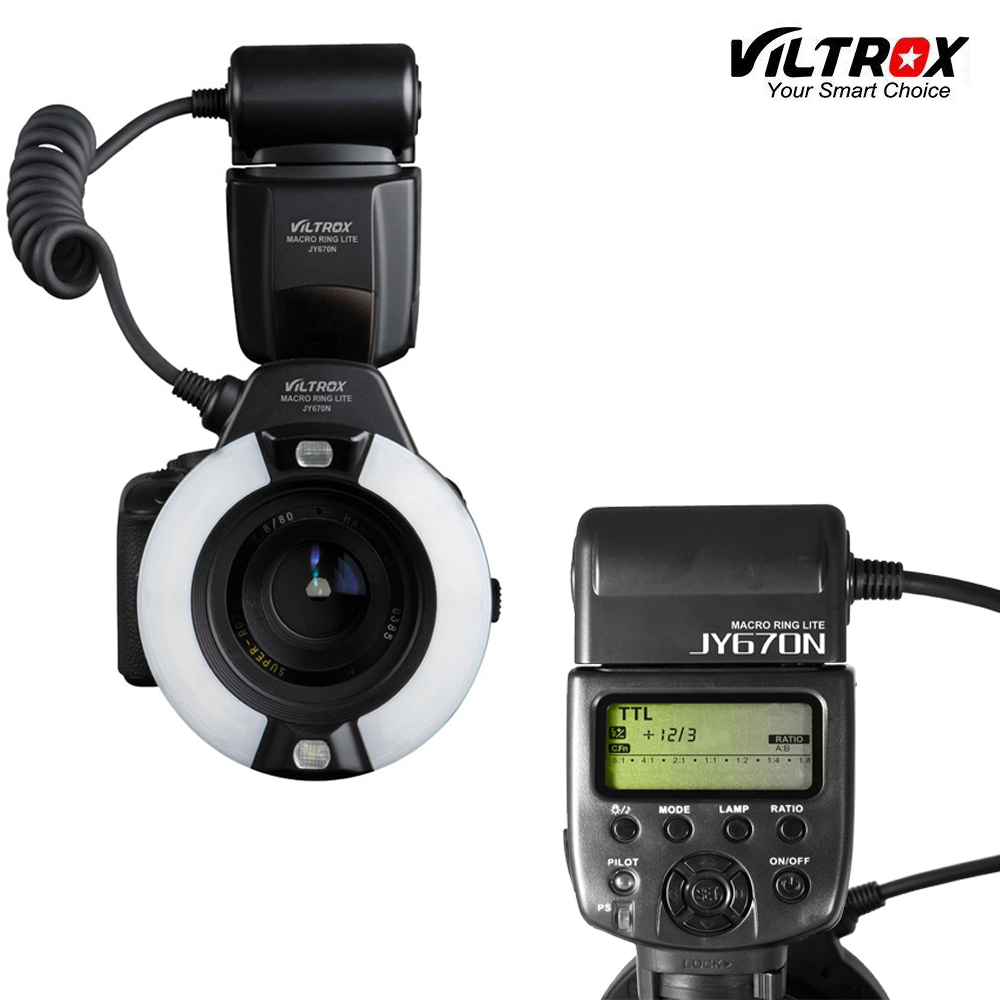 Viltrox JY-670N Camera Macro Close-Up TTL Ring Flash Speedlite for Nikon D3200 D3300 D5200 D5500 D7200 D800 D700 D90 DSLR