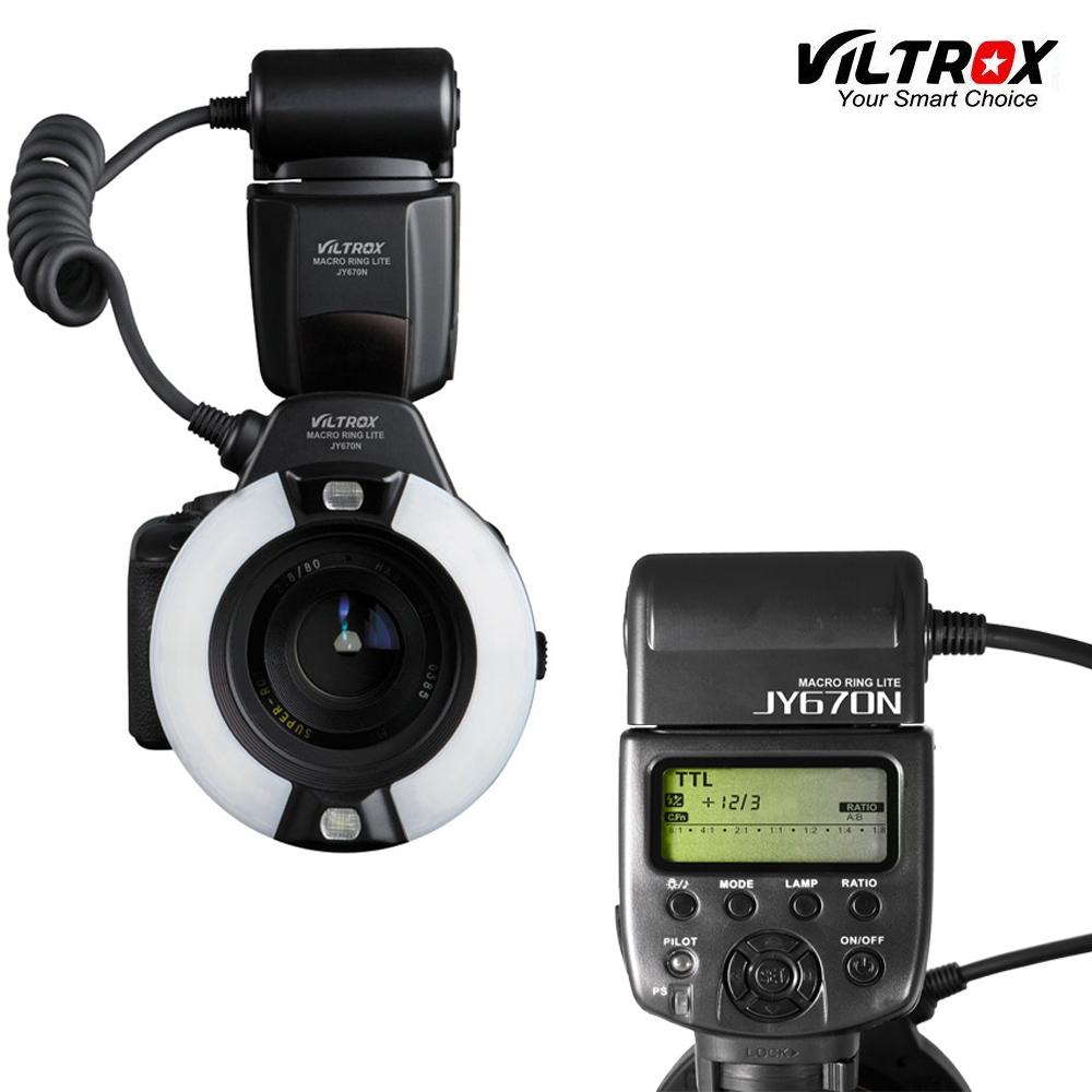 Prix pour Viltrox jy-670n caméra macro close-up ttl anneau flash speedlite pour nikon d3200 d3300 d5200 d5500 d7200 d800 d700 d90 dslr