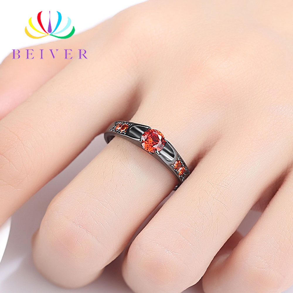 Beiver Black Gold Color Assembly Anel Feminino Bijoux Aneis 0 5 Ct Engagement Ring Zirconia Jewelry Rings Mother 39 s Day Gifts in Rings from Jewelry amp Accessories