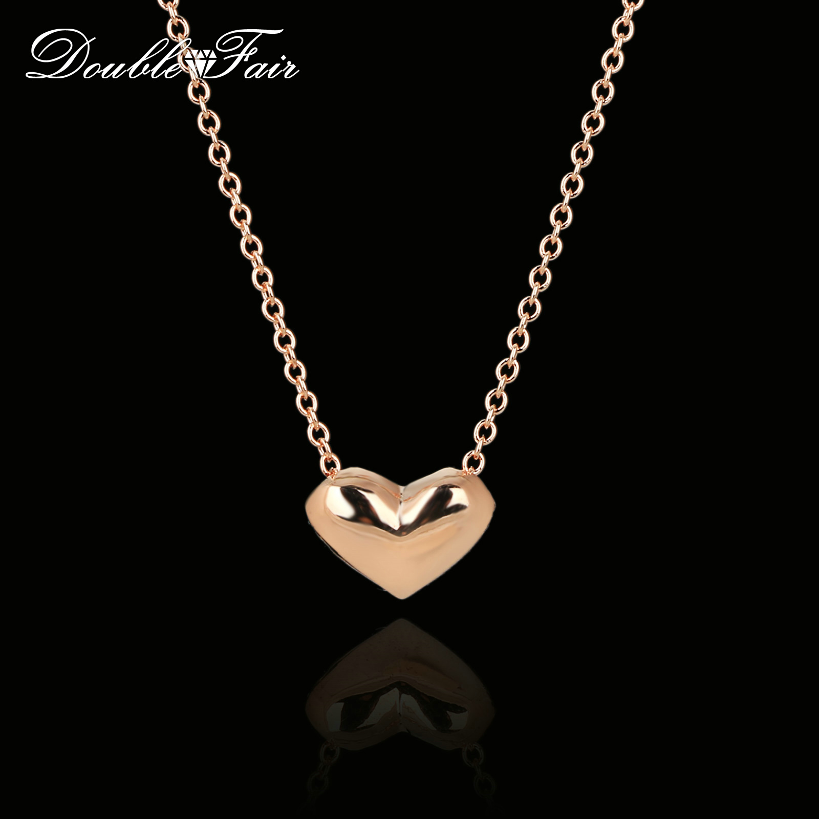 Double Fair Simple Elegant Love Heart Cute Chain Necklaces & Pendants Rose Gold Color Me ...