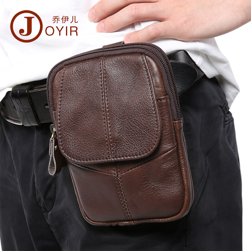 Joyir men waist pack genuine leather fashion simple design bag belt male coffee color mobile phone bag man belt bag men hip belt