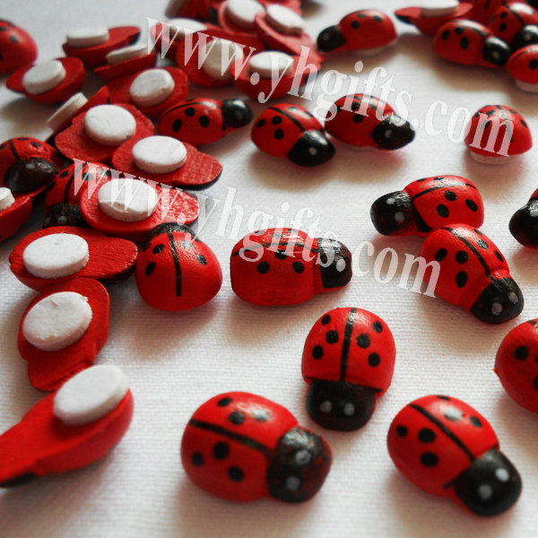 500PCS/LOT.Mini wood ladybug stickers,Kids toys,scrapbooking kit,Early educational DIY.Kindergarten crafts.Classic toys.13x9mm