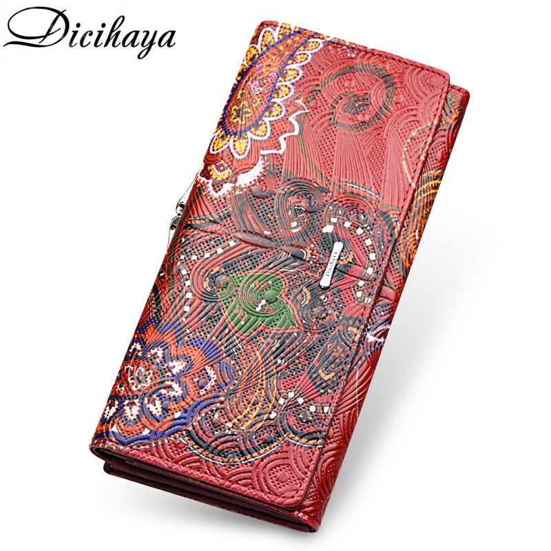 DICIHAYA Genuine Leather Women Wallet 3D Embossing Wallets Female Dollar Price Long Women Wallets And Purses Hasp Clutch Wallet high quality women wallet brand design genuine sheepskin leather wallet female hasp fashion long women wallets and purses x37