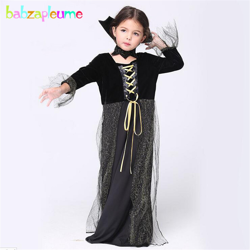 babzapleume Brand Halloween Dance Party Girl Witch Cosplay Costume Bandage Kids Long Dress Child Girls Clothing Infant set Y020 cosplay party cat fox long fur ears neko costume hair clip halloween orecchiette y103