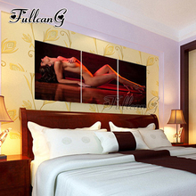 FULLCANG diy 3 pieces diamond painting sexy seductive woman triptych mosaic cross stitch 5d embroidery full square drill G1282