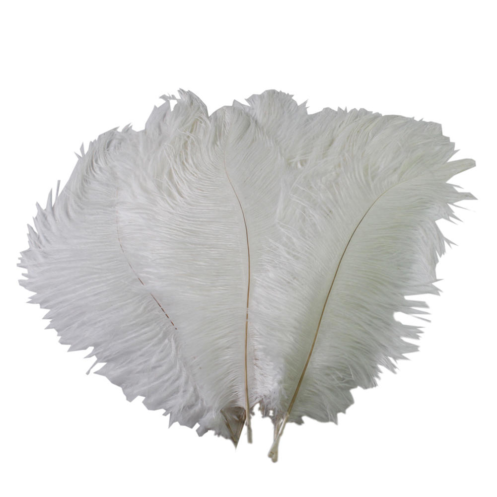 White craft feathers bulk - 2017 10pcs White Ostrich Feathers 30 34cm 12 14inch Decorative Feathers Plumage Wedding