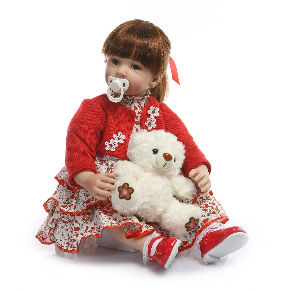 60cm Silicone Reborn bebes girl doll Toys Vinyl red Princess Toddler Babies Dolls With Bear Birthday Gift Limited Edition Doll60cm Silicone Reborn bebes girl doll Toys Vinyl red Princess Toddler Babies Dolls With Bear Birthday Gift Limited Edition Doll