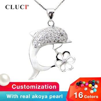 e4762efee6a4 CLUCI 3 piezas lindo Animal doble delfín 925 Plata de Ley deseo perla  colgante medallón para mujer ...