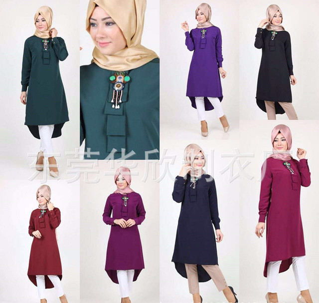 2016 moda de alta qualidade Islâmico topo da menina casual chiffon camisa de manga longa blusas tops plus size para mulheres muçulmanas