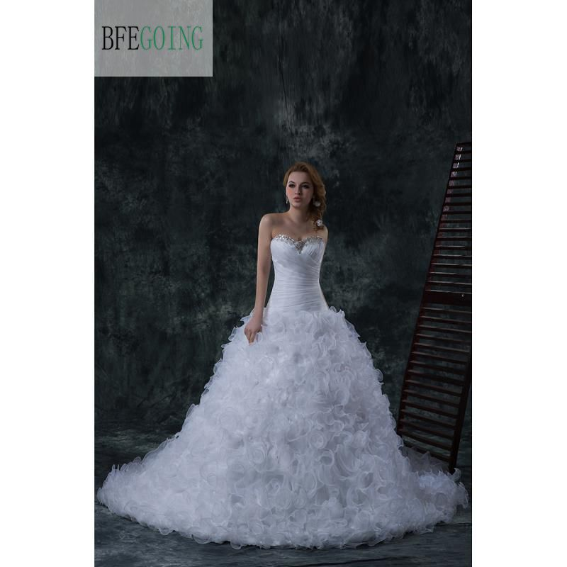 White Organza Mermaid/Trumpet  Floor-Length  Wedding Dress  Chapel Train Full Ruffles Skirt Beading Embroidery