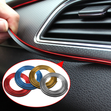 5M Car Styling Interior Decoration Strips Moulding Trim Dashboard Door Edge Universal For Cars Auto Internal Accessories Sticker 3 7 meter interior moulding trim strip decoration thread dashboard sticker decals door air outlet auto accessories car styling