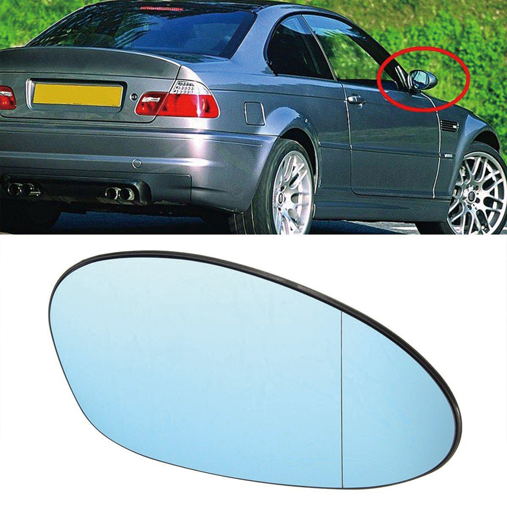 1 Pair Front Left & Right <font><b>Side</b></font> Heated Blue <font><b>Side</b></font> Car Door <font><b>Mirror</b></font> Glass FIT <font><b>BMW</b></font> <font><b>E46</b></font> E90 E92 <font><b>M3</b></font> Wing <font><b>Mirror</b></font> Cover image
