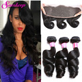 Brazilian Loose Wave With Frontal Closure Bundle Cheap Brazilian Bundle Hair With Closure Brazilian Loose Deep Wave With Closure