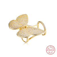 Big Butterfly Movable 925 silver & 14K Gold Rings Luxury 5a Cubic Zirconia Micro Paved Butterfly Shape Women Party Jewelry Gift