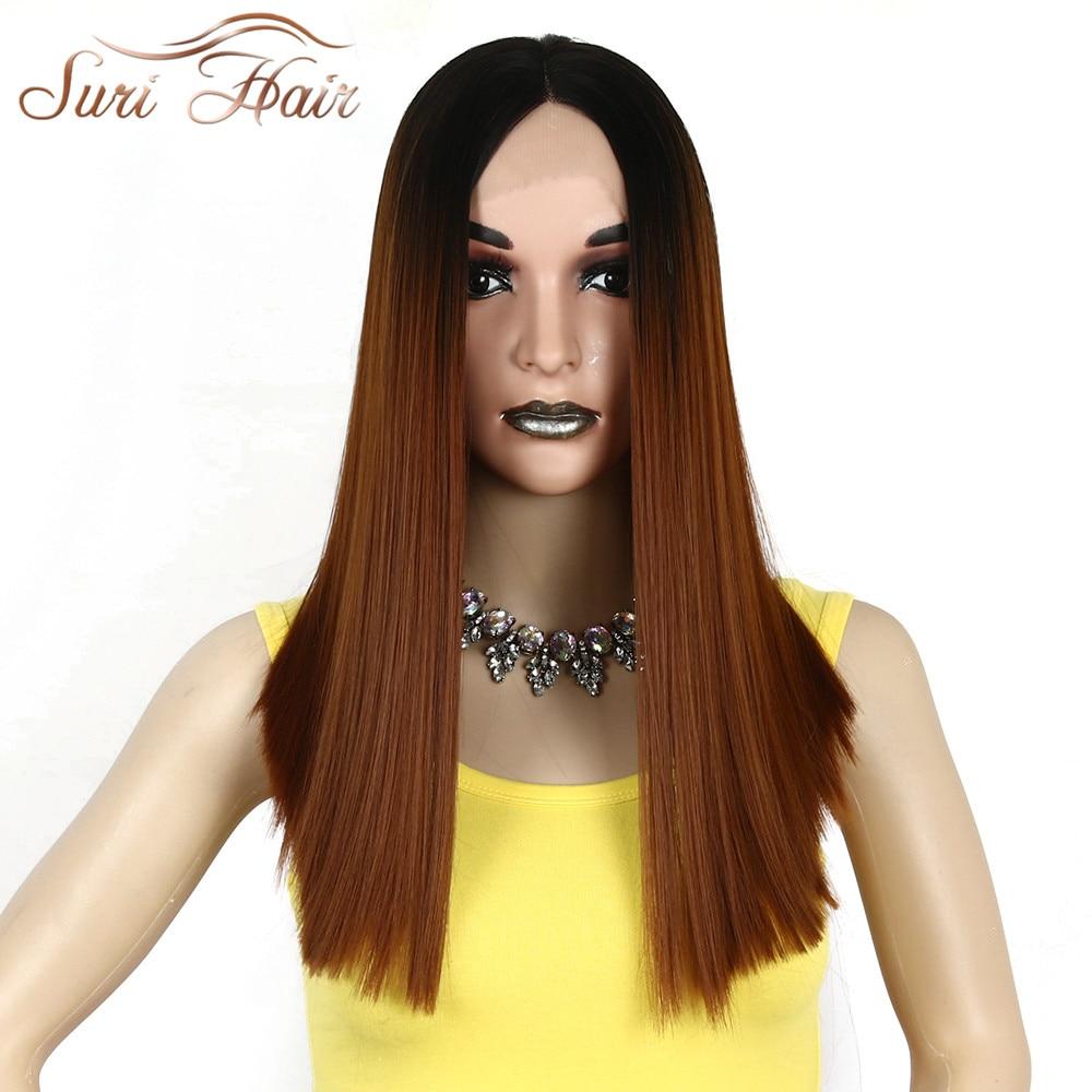 Suri Hair Ombre Marrón pelo sintético recto frente del cordón y - Cabello sintético